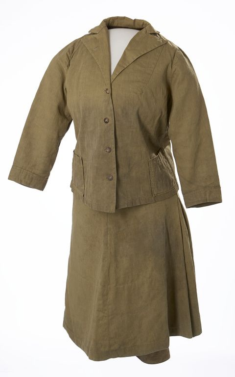 1910s Woman's Climbing Outfit. Made of tough cotton twill, this three-piece climbing outfit was used by Calgarian Frances Pearce for her outings in the Rocky Mountains with the Alpine Club of Canada. While in camp, Miss Pearce would cover the knickers with this matching flared skirt. Via Glenbow Museum.