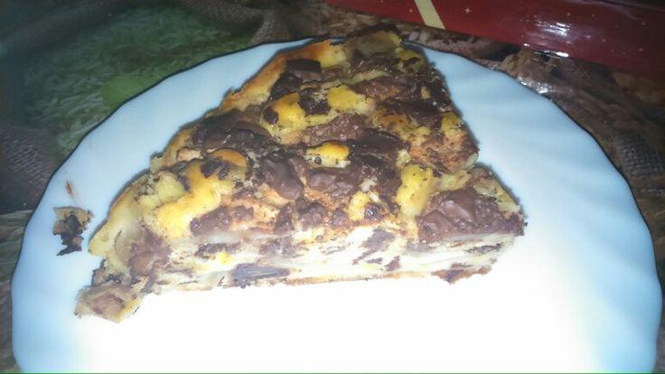 Tarta de pera y chocolate.