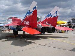 El avión MiG-29OVT es uno de los seis ejemplares de preproducción de la versión MiG-29M anteriores a 1991 que posteriormente fue modificado con motores de empuje vectorial y tecnología fly-by-wire.