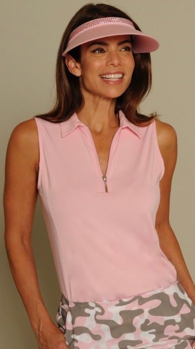 Light Pink Golftini Ladies Sleeveless Zip Tech Golf Polo Shirt. More sporty ladies outfits at #lorisgolfshoppe