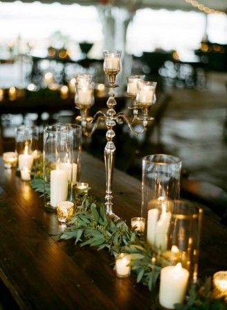 Sweetgrass Social Wedding at Lowndes Grove in Charleston, SC. Leanna & Ike. table scape with greenery and candles.