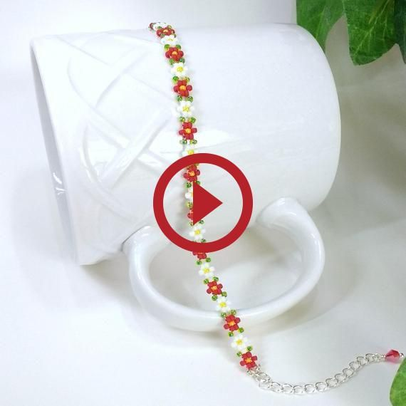 Red Seed Bead Bracelet Daisy Chain Schmuck handgefertigte Freundschaftsbänder Adju …