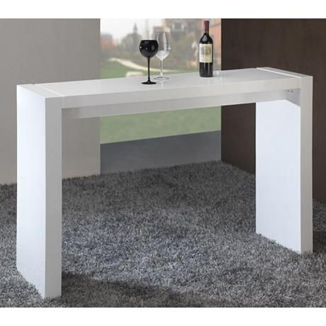 Velia High-Gloss White Contemporary Bar Table