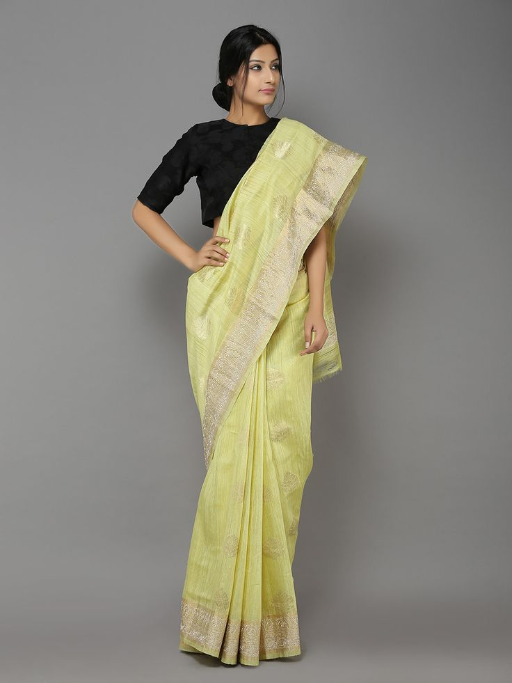 Description: This is a handwoven banarasi saree woven by local artisans of Banaras. The saree has golden zari weaving and embroidery on border. It might have sl