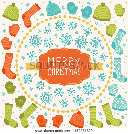 Christmas greeting card with hats, socks and mitterns - stock vector