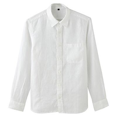 フレンチリネン洗いざらしシャツ(レギュラータイプ) 紳士・M・白 | 無印良品ネットストア