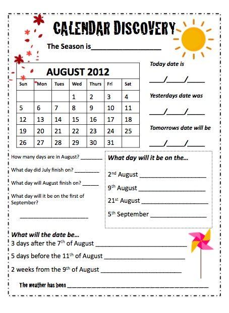 Calendar Ideas School : Calendars monthly worksheets math school and