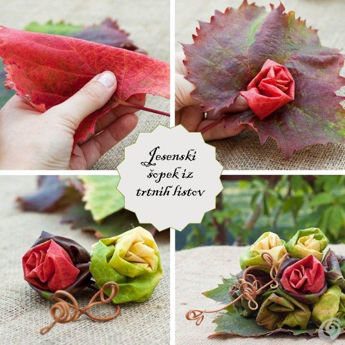DIY naredi sam: jesenski šopek iz trtinih listov / DIY autumn bouquet from vine leaves