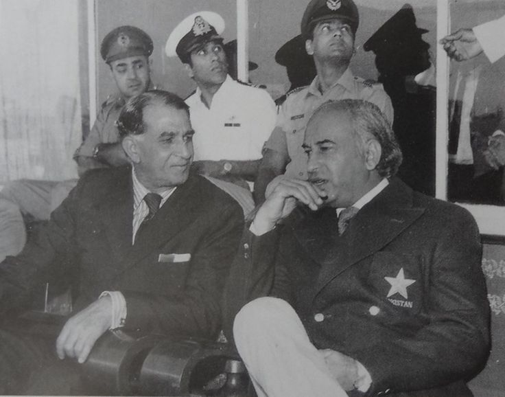 A.H. Kardar with Z.A. Bhutto at Lahore's Gaddafi Stadium during a 1976 Pakistan vs New Zealand Test match.