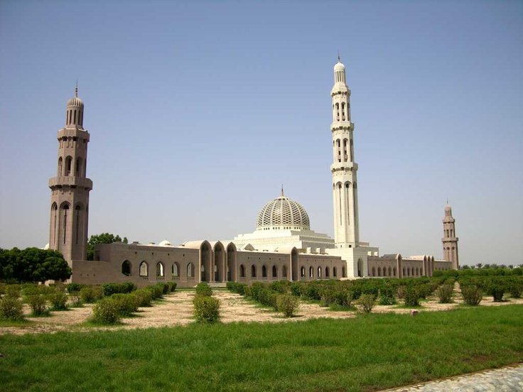 The Sultan Qaboos Grand Mosque is the third largest in the world, built between 1995 and 2001 from 300,000 tons of Indian sandstone. The complex is 1000m long and 885m wide. The most visible part of a mosque is the minaret, the tower from which the call to prayer is broadcast five times a day. There are four 45.5m minarets on the corners and a big central one of 91.5m, the five minarets symbolizing the five pillars of Islam.