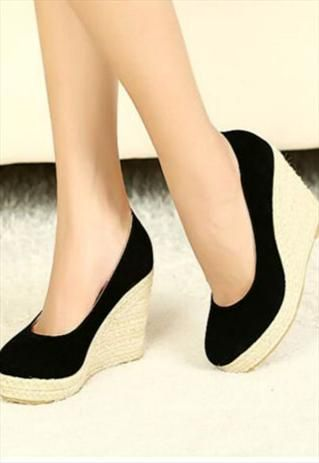 Stylish Black Suede Wedge Shoes