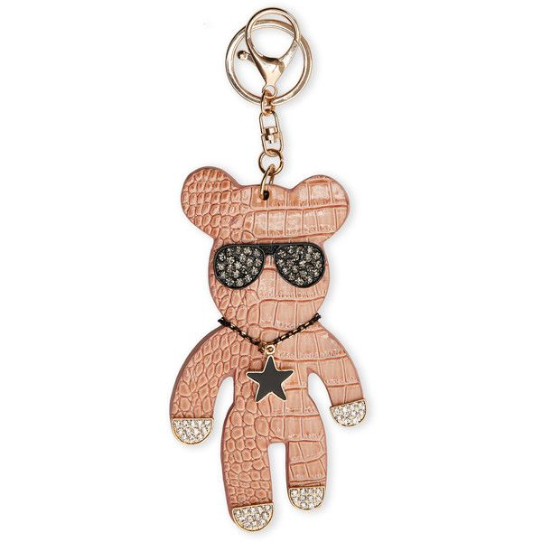 Natasha Luggage Croc-Embossed Bear Bag Charm/Keychain ($20) ❤ liked on Polyvore featuring accessories, beige, ring key chain, fob key chain, keychain key ring and key chain rings