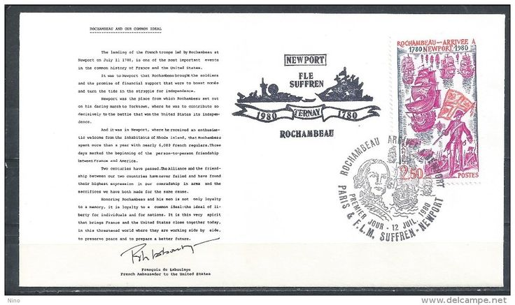 France. Scott # 1712 FDC. Rochambeau´s Landing to Newport. Fle Suffren cachet. Joint issue with USA 1980
