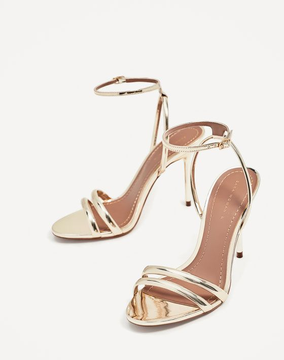 Image 4 of GOLDEN STRAPPY HIGH HEEL SANDALS from Zara