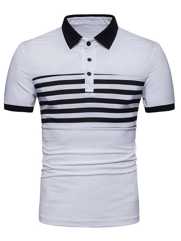 c27c13a8eee7a0 Contrast Color Stripe Print Polo Collar T-shirt in 2019