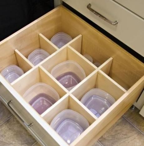 Raise your hand if your Tupperware drawer is constantly in a state of disarray. By installing dividers in the drawer, you can easily keep tabs on which lid goes to which container.
