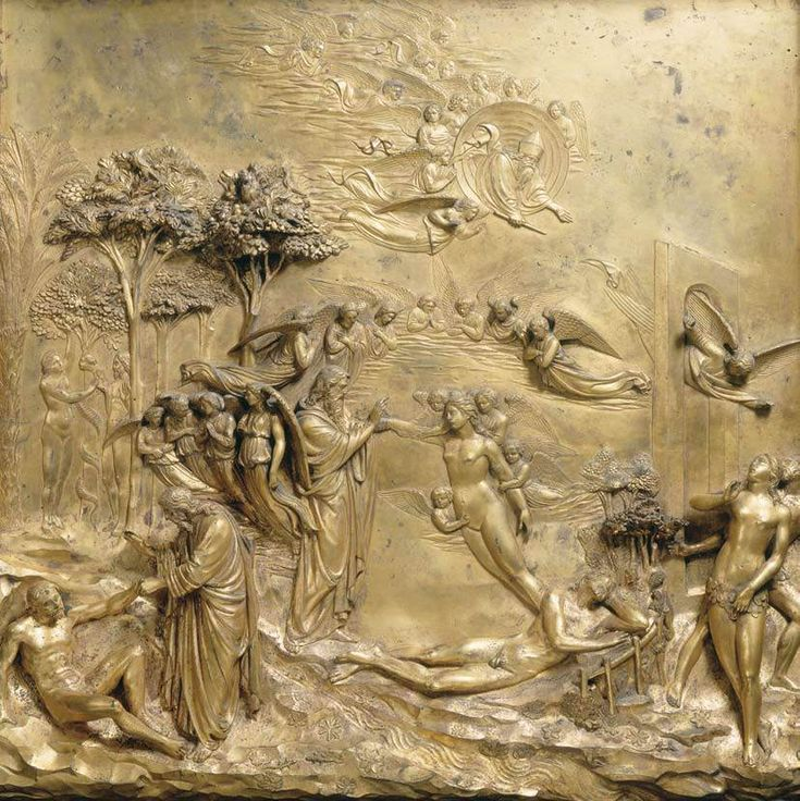 Lorenzo Ghiberti, Creation of Adam and Eve 1425/ 1452 Gilded bronze, 79 x 79 cm Baptistry, Florence