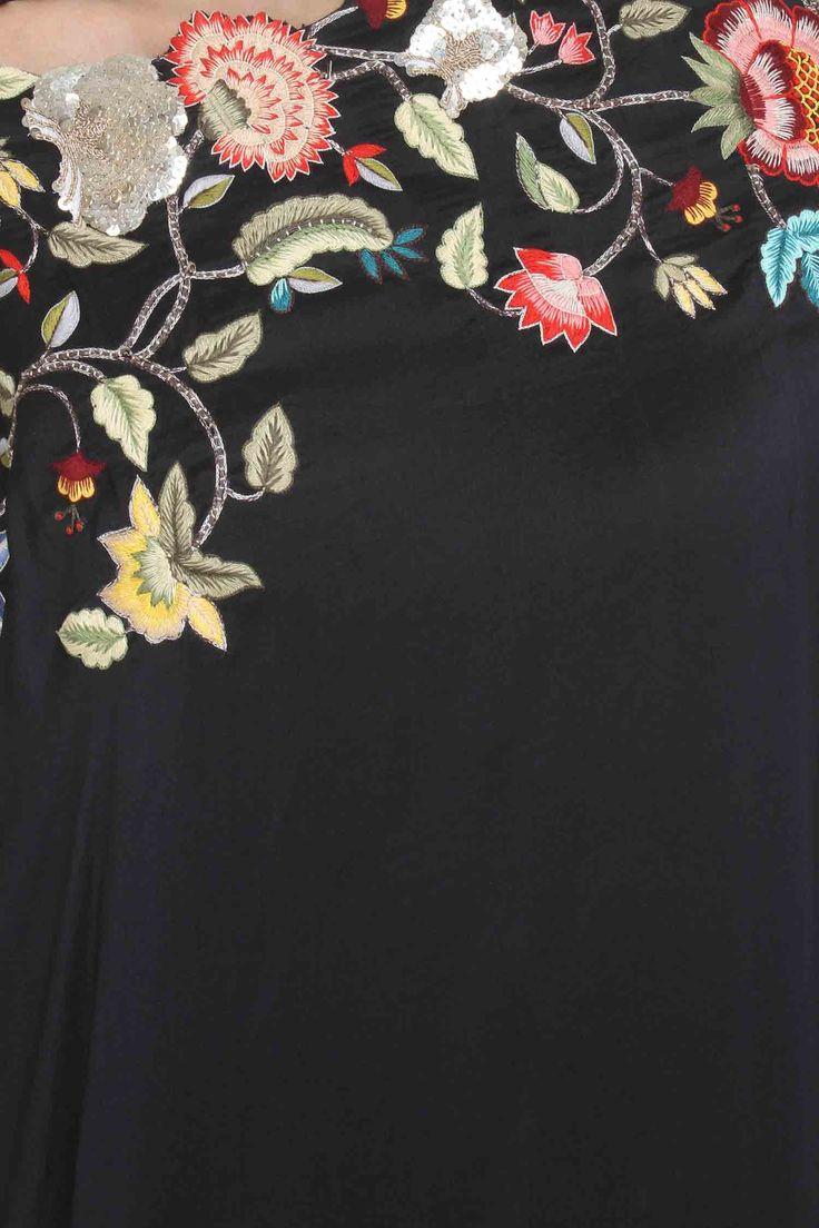 Black silk floral drape set