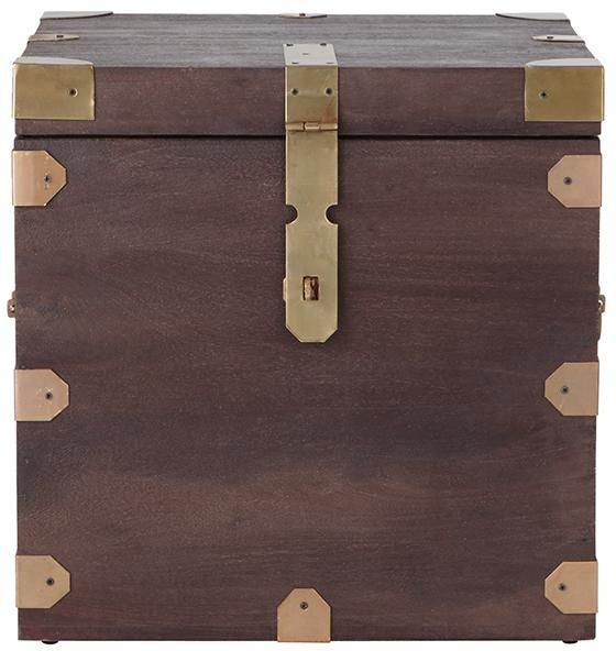 this trunk end table has old world style its handcrafted hardware is finished in brass