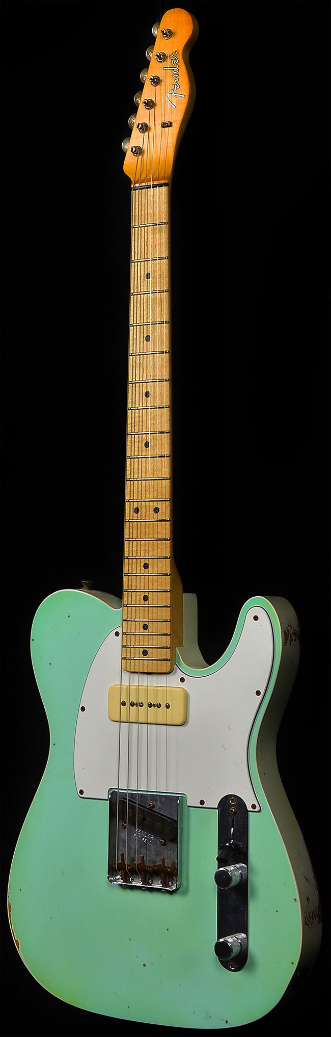 Wild West Guitars : Fender Custom Shop 1963 P90 Telecaster - Faded Surf Green Oly White Back