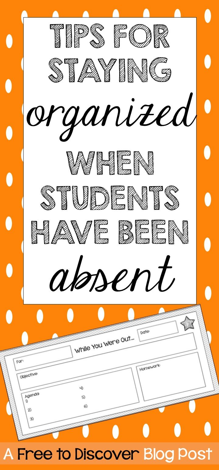Student absences occur on a regular basis throughout the school year, but it can be so difficult to keep those students (and ourselves!) organized and caught up.  Here are some tips to consider when establishing your own routines for handling absences in the classroom.  In this blog post you will also find a link to a freebie that will help streamline communication of missed work during absences.  Brought to you by Free to Discover.