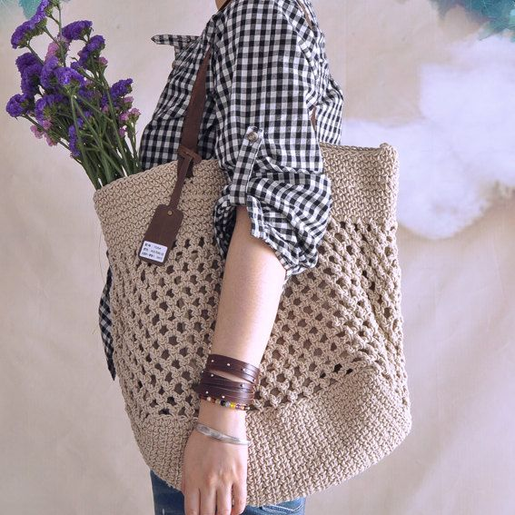 Beige crochet bag crochet handbag summer bag by vivianfabric, $73.25
