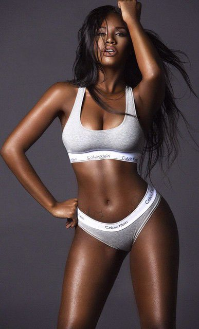 model Dark lingerie black skin girl