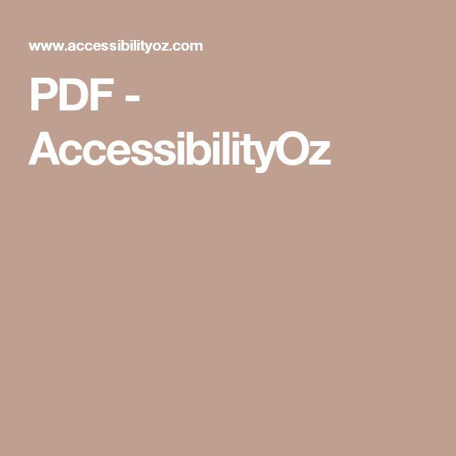 PDF - AccessibilityOz