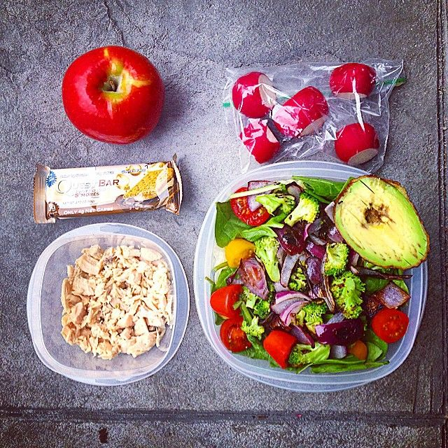 Lunch and snacks for a 10 hour shift! Woke up and hit the gym for a 45 min recovery run (6.3 miles) and lifted chest! Here I have a spinach salad with grilled veggies and avocado, diced chicken, radishes, an apple, and a questie. I hope you all have a great day❤️! #Padgram