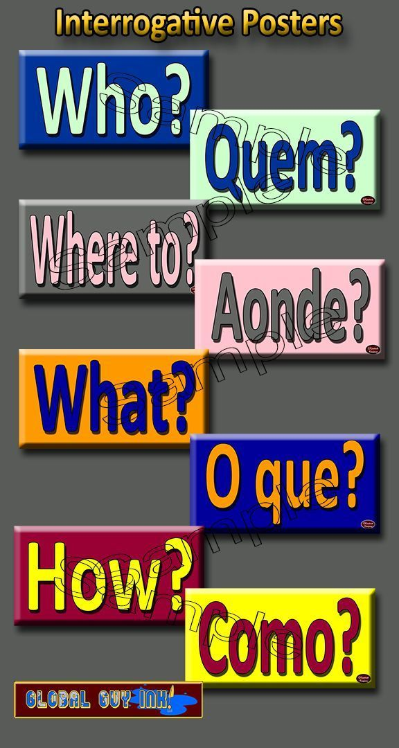 WHO, WHAT, WHEN, WHERE, WHY, HOW, WHERE, etc.! These posters represent the interrogatives in both Portuguese and English. By putting the word pairs on separate posters, and by putting the corresponding words in reverse color combinations, the students are forced to search for the answer in the other language. By keeping them separated, students will eventually wean themselves off of referring back to their own language and start internalizing the interrogatives. #teachportuguese