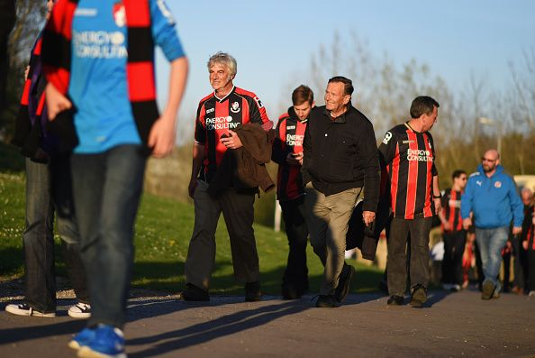 News Photo : Bournemouth fans walk to the ground prior to the...