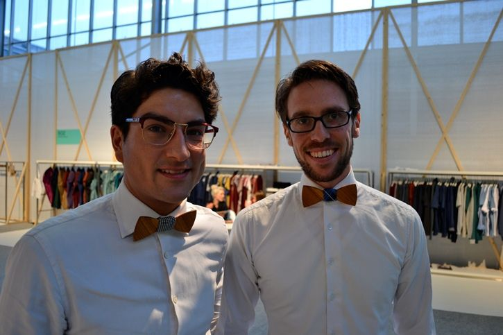 #Rodney #Heemskerk and #Bob #Koning from #Two-O wearing the #wooden #bowties from Two Guys Bow Ties at the #Modefabriek #Amsterdam. Lees meer: http://misterdaily.nl/misterdaily-bekijkt-de-houten-collectie-van-two-o/