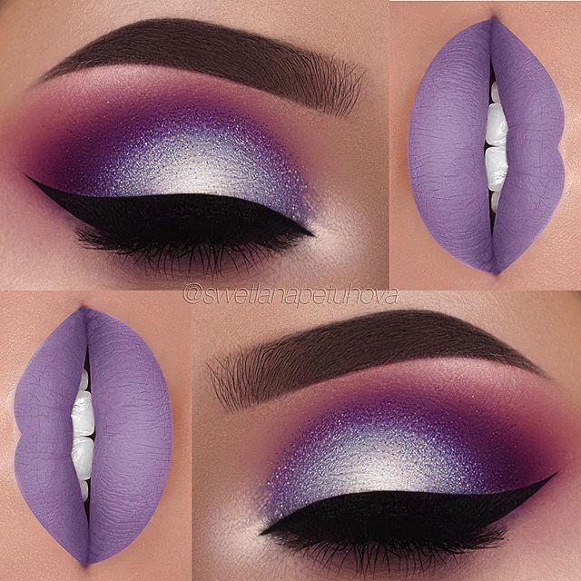 """Clover"" liquid lipstick by @anastasiabeverlyhills Brows: @anastasiabeverlyhills Dipbrow in ""Dark Brown"" Eyes: @makeupgeekcosmetics ""Fashion Addict"", ""Bitten"", ""Cherry Cola"", ""Curfew"", ""Masquerade"", ""Mermaid"" and ""Ice Queen"" Glitter: @_glittereyes_ Liner: @tartecosmetics tarteist clay paint liner Lashes: @vegas_nay Grand Glamor"