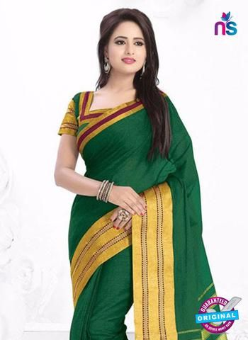 SC 13383 Green and Golden Fashionable Traditional Cotton Handloom Saree