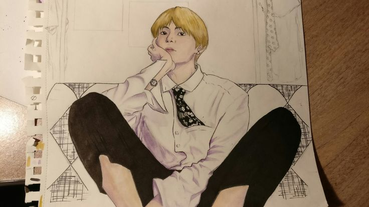 The most recent one. I haven't been able to draw for some time, i don't know i felt weird. #taetae #bts #drawing #v