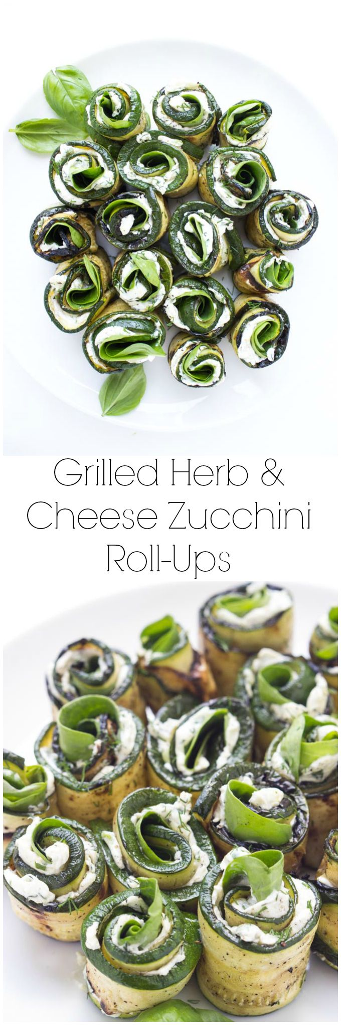 Grilled zucchini filled with herby cream cheese, baby spinach, and aromatic basil. Easy yet elegant side dish or appetizer | littlebroken.com @littlebroken