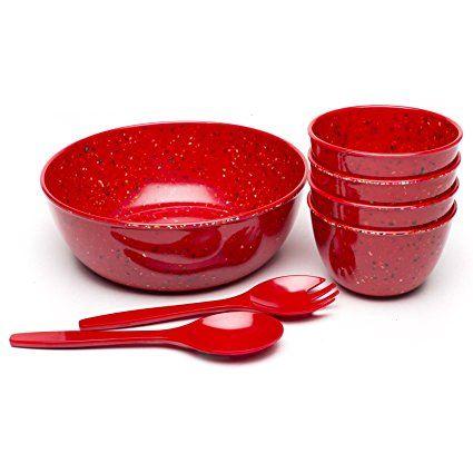 Amazon.com: Zak! Designs Confetti Salad Serving Set, BPA-free, 7-Piece set, Tropics: Kitchen & Dining