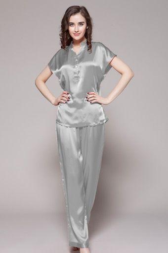 Womens Silk Pajamas Set With Moat Collar
