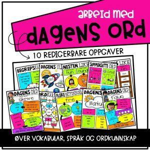 Målform: Bokmål & nynorsk  Redigerbart: Ja  Her får du:   5 ferdige arbeidsark med forskjellige nivå  5 eksempelark i farger  30 clipart oppgaver til å lage egne arbeidsark