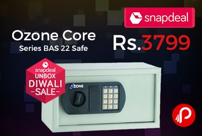 Snapdeal #UnboxSale is offering 46% off on Ozone Core Series BAS-22 Safe (43cm X 20cm X 38cm) just Rs.3799. Keeping the dire need for quality and durable lock and security systems in mind, Ozone core safe strives to come up with latest and advanced security solutions. Featuring self-programed code by the user for operation eliminating the risk of loss ...  http://www.paisebachaoindia.com/ozone-core-series-bas-22-safe-46-off-rs-3799-snapdeal/