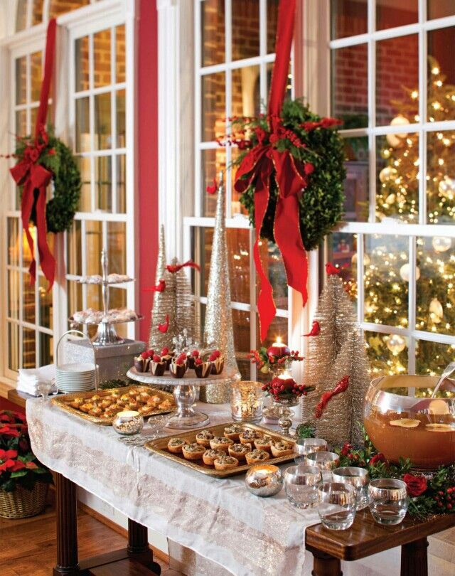 Elegant Christmas Party Themes Part - 16: Christmas Dessert Table, Hanging Wreaths Over The Doors, Windows, China  Cabinet