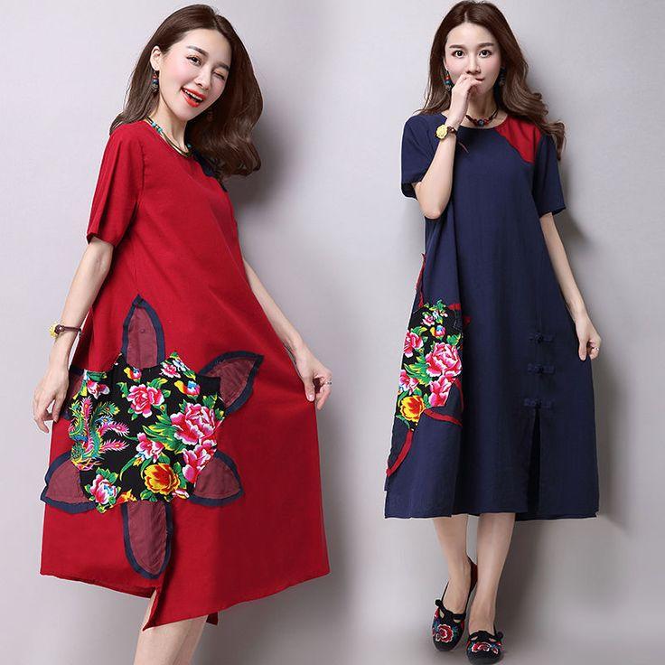 Summer Women's Short Sleeve Cotton Linen Big Flower Print Loose Flax Long Dress #Kalawa #LooseDress #Casual