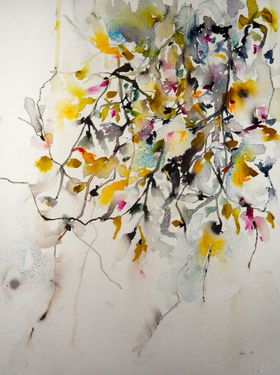 """Saatchi Online Artist: Karin Johannesson; Watercolor 2013 Painting """"Magnolia and Cherry Blossoms"""""""