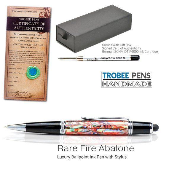 Rare Fire Red Abalone Shell Fancy Ballpoint Pen with Stylus A