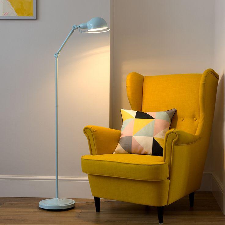 Iconic 'Forton' Swing Arm Adjustable Floor Lamp, Duck Egg Blue