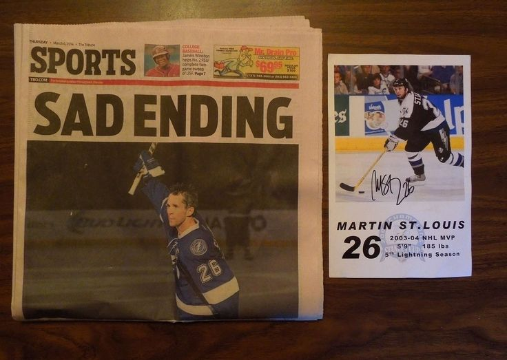 Martin St. Louis - Tampa Bay Lightning & New York Rangers, Signed Photo & Newspaper. Future Hall of Fame player and winner of the 2004 Stanley Cup while a member of the Lightning. #NHL #NHLPlayoffs #StanleyCup #StanleyCupPlayoffs #TampaBayLightning #ChicagoBlackhawks