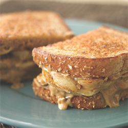 Grilled Banana Sandwich; Banana, peanut butter, low fat cream cheese, and cinnamon. Breakfast! 320 Calories