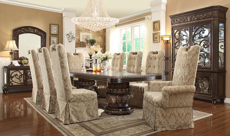Homey Design 7 Pc Europa Collection Old World Style Dining Table Set With  Carved Accents And Tufted Padded Seats. This Set Includes The Table And 2    Arm ...