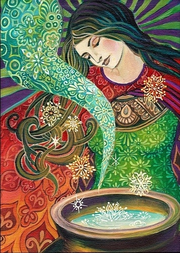 Cerridwen, Celtic Goddess of Magic and Transformation, with Awen, her cauldron of Inspiration