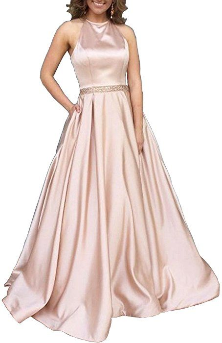 Yorformals Halter A Line Beaded Satin Plus Size Formal Evening Gown
